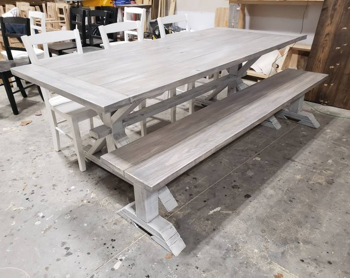 7ft Rustic Farmhouse Table Set With Long Bench and Chairs with Breadboards, Gray White Wash Finish, Distressed White Base Wooden Dining Set