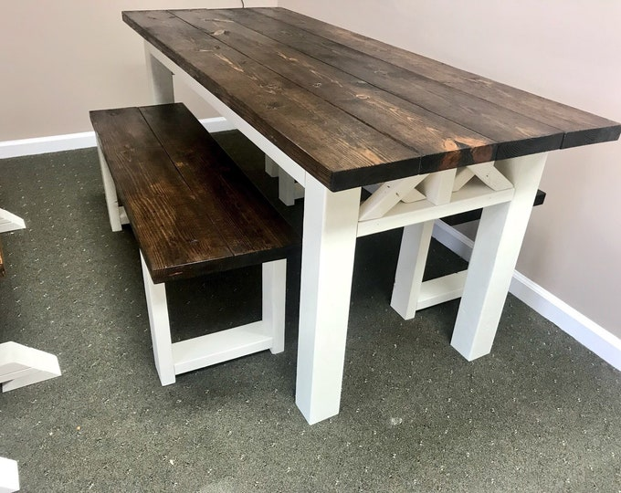 Rustic Wooden Farmhouse Table Set with Espresso Top and Antique White Base Criss Cross Style Includes Two Benches