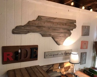 Large North Carolina Cutout Sign with Rustic Look NC Wall Art and NC Wall Decor