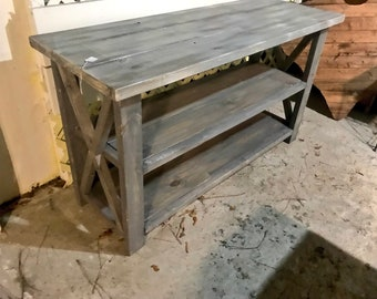 Buffet table etsy rustic wooden buffet table rustic console table farmhouse buffet table white wash with gray base and white wash top watchthetrailerfo