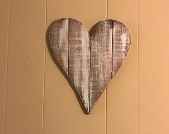 Rustic Distressed Heart Cutout Sign White Wash look with Walnut Base Wall Art and Decor