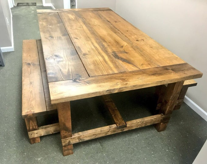 Rustic 7ft Farmhouse Table with Breadboard Ends and Bench, Provincial Brown stained Dining Set, Wide Farmhouse Table with Trestle, Long Tabl