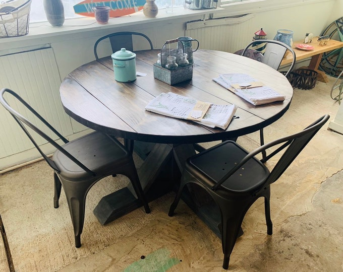 Round Rustic Farmhouse Table Set with Chairs, Single Pedestal  Style Base, Dark Walnut Brown Top with Gray Base, Small Wooden Dining Table