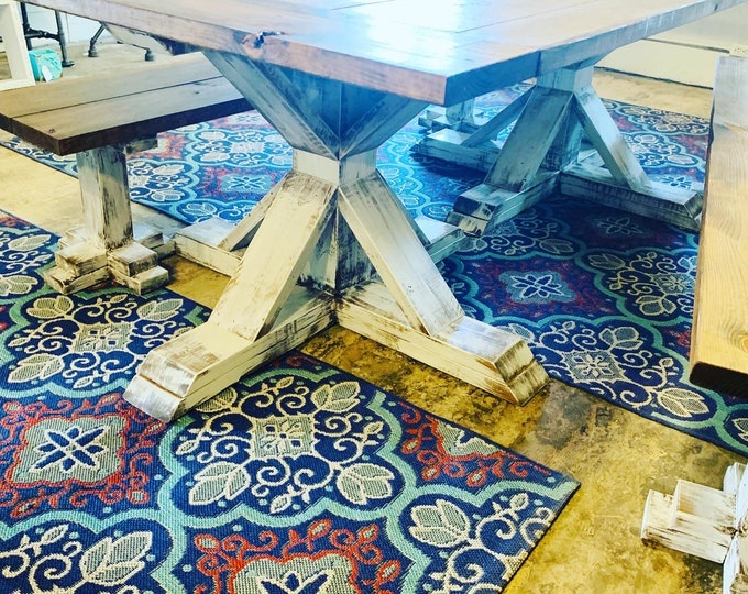 Rustic Chunky Farmhouse Table With Double Pedestal Legs and Benches, Provcial Brown Distressed White Base Wooden Dining Set, Wide Kitchen.