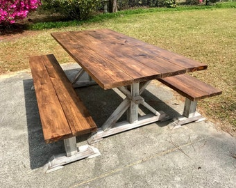 Rustic Pedestal 7ft Farmhouse Table With Long Benches Provincial Brown with White Distressed Base Dining Set