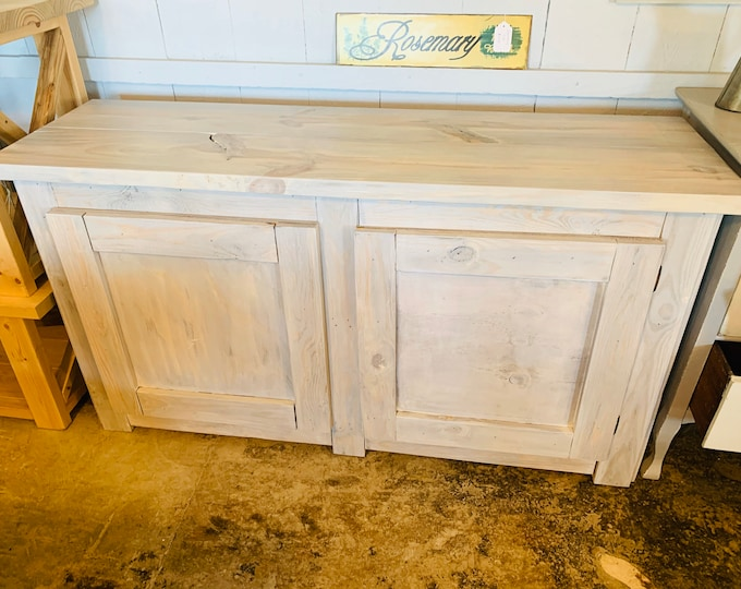 Rustic Farmhouse Buffet Weathered Wood with a Antique White Stain, Wooden Cabinet with Doors, Server, Entertainment Stand with Storage