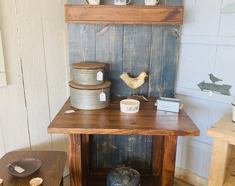 Rustic Farmhouse Coffee Bar with Floating Shelf, Entryway Furniture or Buffet with Charcoal Back and Provincial Shelving Wooden Furniture