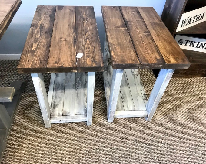 Rustic Handmade Long End Tables Set with Shelve, Distressed White Base with Provincial Brown Top Pair of Farmhouse Side Tables, Wooden Table