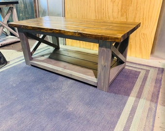 Rustic Farmhouse Coffee Table, Wooden Living Room Furniture with X Criss Cross Accents, Gray Base with Provincial Stained Top