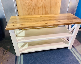 Rustic Wooden Buffet Table, Rustic Console Table, Farmhouse Buffet Table, Antique White Base and Light Walnut Top