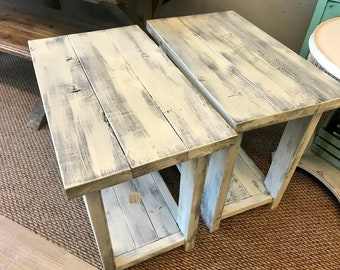 Rustic Handmade Long End Tables Set with Shelve, Distressed Creamy White with Charcoal Gray Showing Through Pair of Farmhouse Side Tables