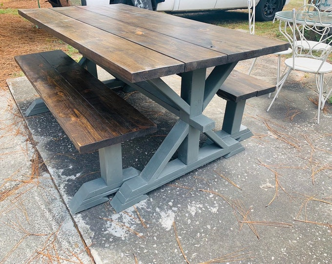 Rustic Pedestal Farmhouse Table With Benches Espresso Brown Top with a Dark Gray Base Dining Set