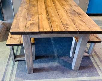 Small Farmhouse Table, Rustic Farmhouse Table with Benches, Provincial Dining Set With Gray Base, 5ft Table and Benches.