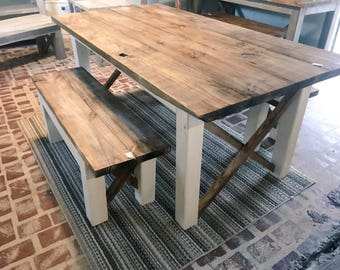 Farmhouse Table With Bench Etsy - Farmhouse table with white base