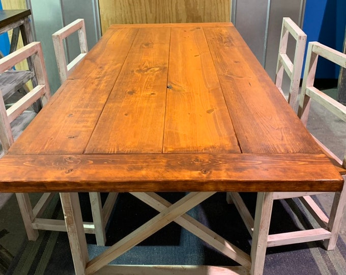 Rustic Farmhouse Table With Wooden Chairs with Gunstock Burnt Orange Top and Weathered White Base and Cross Brace Design, with Breadboards