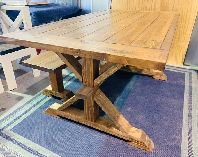 6ft Rustic Farmhouse Table Set With Long Benches, Breadboards, and Trim Light Walnut Finish  Wooden Dining Set Brown Finish