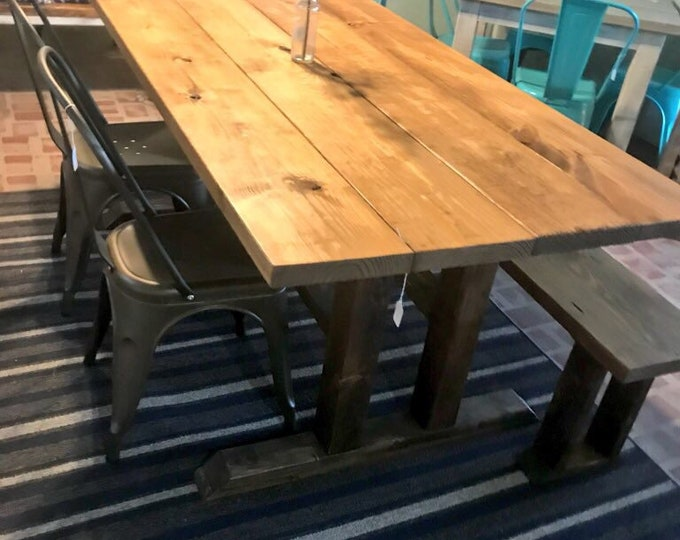 Modern Farmhouse Table Set with Bench and Two Metal Chairs, Dark Walnut Base with Early American Top, Wooden Rustic Dining Set
