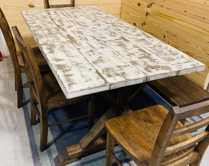 Rustic Pedestal Farmhouse Wood Table Set with Long Bench and Rustic Wooden Chairs,  6ft Dining Table, Weathered White Top, Dark Walnut Base