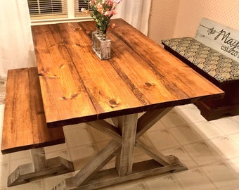 Small Rustic Pedestal Farmhouse Table With Bench Provincial Brown with White Distressed Base Dining Set
