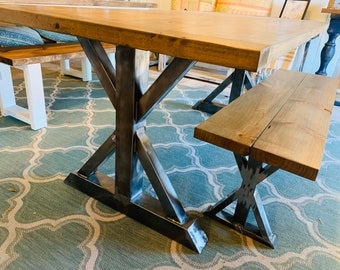 Industrial Farmhouse Table Set with Bench, Raw Steel Pedestal Base, Weathered Brown Top With Breadboards, Dining Set or Kitchen Table