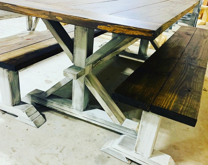 7ft Rustic Farmhouse Table Set With Long Benches and Breadboards, Espresso Brown Finish and Distressed White Base Wooden Dining Set
