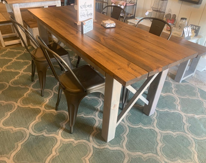 Rustic Wooden Farmhouse Table Set with Provincial Brown Top and Classic Gray Base Criss Cross Style Includes Four Chairs