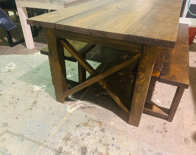 Rustic 7ft Farmhouse Table with Benches, Brown Dining Set, Table Set, Dark Walnut Long Narrow Farmhouse Table, X Accents