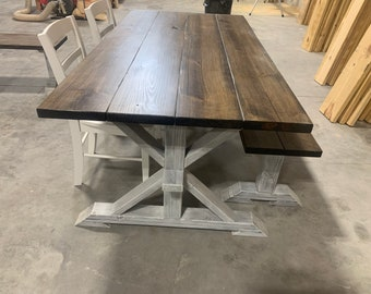 Rustic Pedestal Farmhouse Table, Chairs and Bench, With White Dark Walnut Brown with White Distressed Base Dining Set In Stock