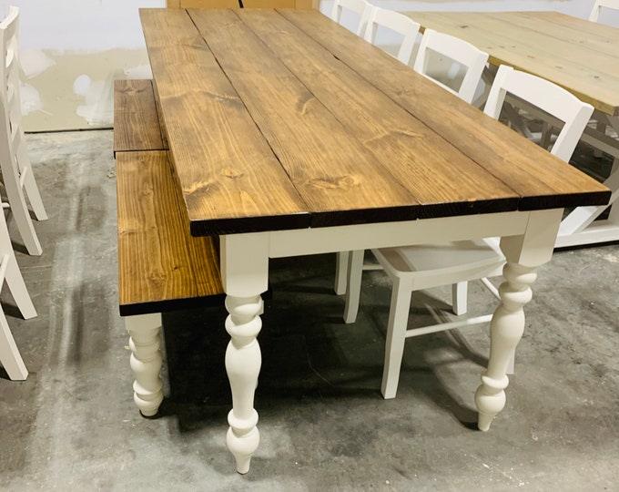 8ft Rustic Farmhouse Table with Chairs and Benches Turned Legs, Provincial Brown Top and Antique White Base, Wooden Dining Table