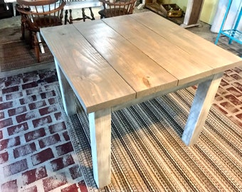 Square Farmhouse Table, Rustic Farmhouse Table, With Gray Top Gray White Wash Base, Wooden Dining Table Small Farmhouse Table