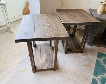 Long Rustic Farmhouse End Tables Briar Smoke Distressed Finish, Wooden Side Tables with Shelve, End Table Set