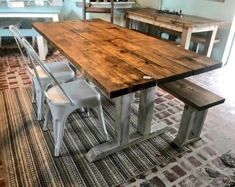Rustic Farmhouse Table With Long Bench And Metal Chairs Provincial Brown Top Distressed White Base Dining Set 6ft