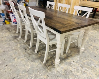 7ft Rustic Farmhouse Table with Chairs and Turned Legs, Dark Walnut Top and Antique White Base, Wooden Dining Table