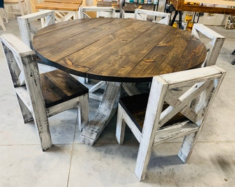 Round Farmhouse Dining Table Etsy