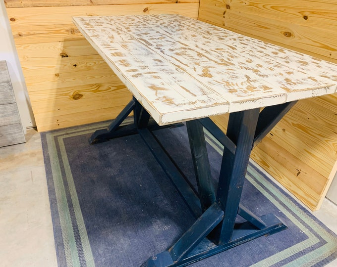 Rustic High Top Farmhouse Table, Distressed Navy Pedestal Base, With Weathered White Top, Pub or Bar Height Dining, Trestle Base
