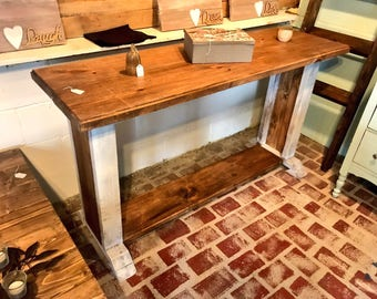 Rustic Farmhouse Buffet Table, Long Rustic Entryway Table, Provincial Brown Top Distressed White Base, Entryway Decor