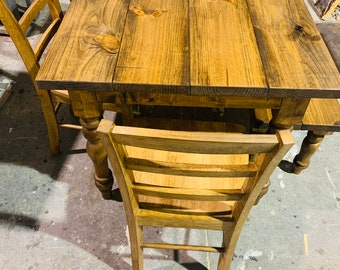 Rustic Farmhouse Table with Turned Legs, Benches and Chairs, Early American Stain Finish, Dining Set with Wooden Ladder Back Chairs