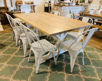 6ft Rustic Farmhouse Table Set With White Chairs , Gray Stained  Finish, Purse White Base Wooden Wide Dining Set