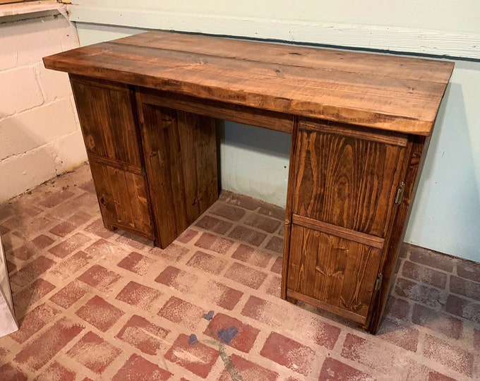 Rustic Wooden Farmhouse Desk, Provincial Brown Stain, Cabinet Desk Storage, Farmhouse Office Furniture, Work Desk