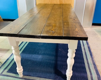 7ft Rustic Farmhouse Table with Turned Legs, Dark Walnut Top and Antique White Base, Wooden Dining Table
