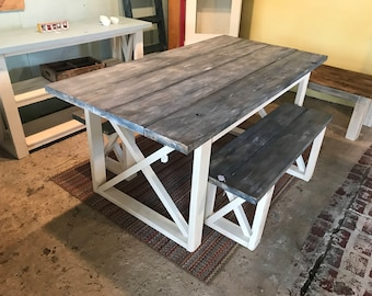 Rustic Farmhouse Table With Benches with White Wash Charcoal Stain Top and Weather White Base and Cross Brace Design