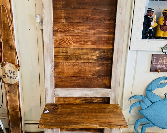 Rustic Farmhouse Hall Tree with Hooks, Built with Reclaimed Wood,  Distressed White with light walnut Stain, Entryway Bench with Storage
