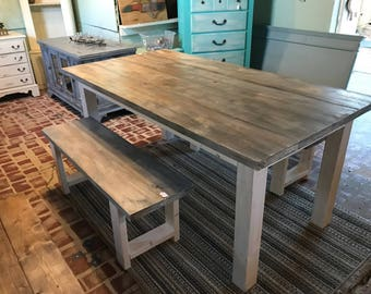 White Wash Farmhouse Table With Benches Rustic Wooden Gray White Wash Stock and Creamy White Base Dining or Kitcen Table