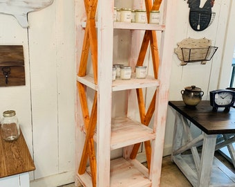 Rustic Farmhouse Style Bookshelf with a Distressed Antique Finish and Gunstock Organge X Accents,  Wooden Shelving Bookcase