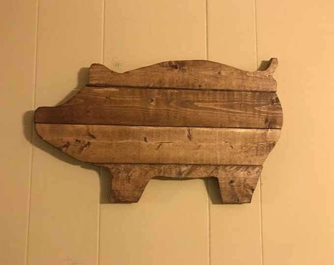 Walnut Stained Pig Sign Farmhouse Style Wall Decor and Rustic Wall Art