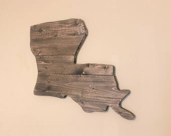 Louisiana Wooden State Cutout Sign with Rustic Walnut Stain LA wall Decor and Wall Art