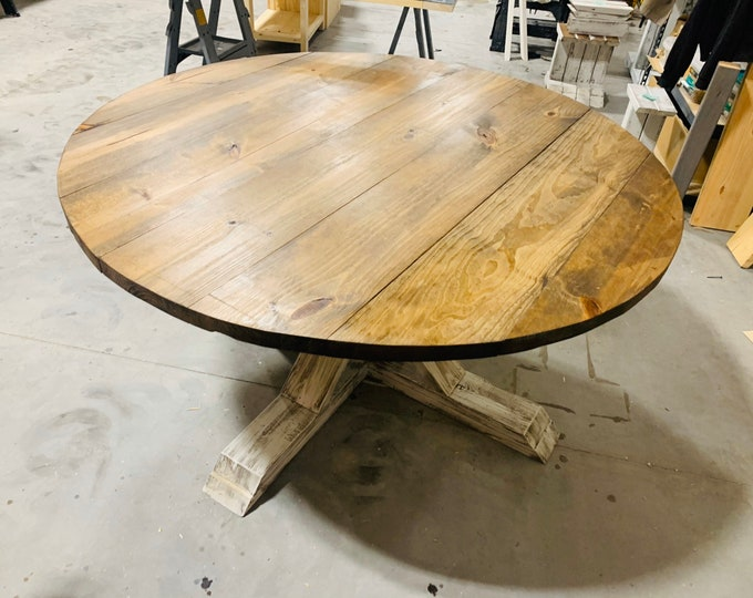 Round 5ft Rustic Farmhouse Table, Single Pedestal  Style Base, Provincial Brown Top with Distressed White Base, Small Wooden Dining Table