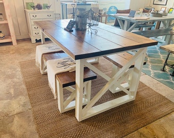 Surprising Rustic Small Farmhouse Table With Benches With Charcoal Etsy Creativecarmelina Interior Chair Design Creativecarmelinacom