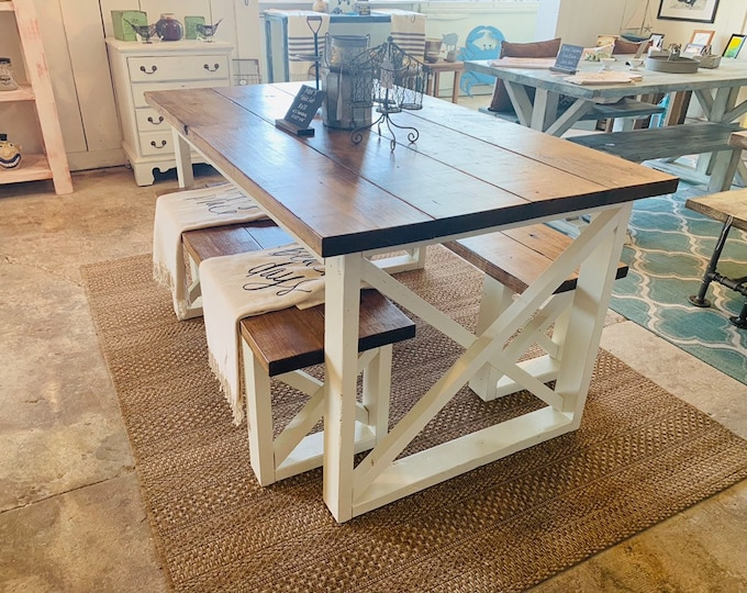 Rustic Small Farmhouse Table With Benches with Provincial Brown Top and Weathered White Base and Cross Brace Design