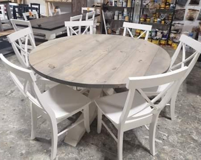 5ft Round Rustic Farmhouse Table with chairs, Single Pedestal  Style Base, Classic Gray Top with Solid White Base, Wooden Dining In Stock